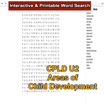 Interactive Word Search for Level 2 CPLD