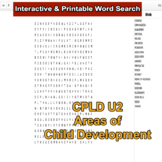 Child Care Interactive Word Search for Level 2 CPLD Unit 2