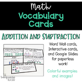 Interactive Word Wall Math Vocab Cards & Digital: Addition and Subtraction