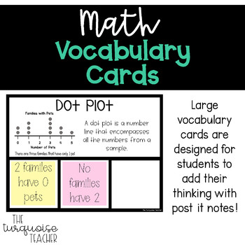 Interactive Word Wall Math Vocab Cards & Digital: Measurement Time Data Analysis