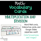 Interactive Word Wall Math Vocab Cards & Digital: Multiplication and Division