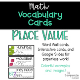 Interactive Word Wall Math Vocabulary Cards & Digital Cards: Place Value