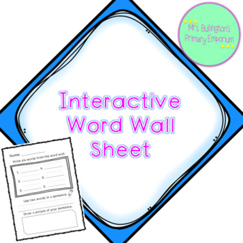 Interactive Word Wall Sheet