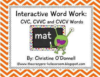 Interactive Word Work: CVC, CVVC, CVCV common core