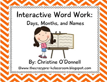 Interactive Word Work: Months, Days and Names