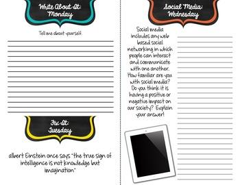 Interactive Writing Journal: Grades 6-10 Full year (35 weeks)