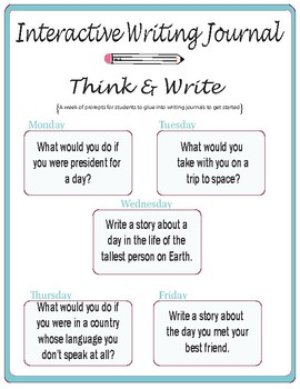 Interactive Writing Journal Prompts