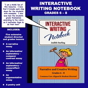 Interactive Writing Notebook Grades 6 - 8  CC Aligned
