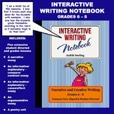 Five Interactive Writing Notebook Lessons, Grades 6 - 8  CC Aligned
