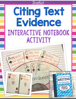 Citing Text Evidence FREE ACE Method - Writing Interactive Notebook BONUS Lesson