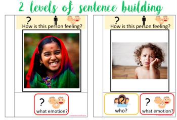 Interactive/adapted book: Emotions. Sentence writing using colourful semantics