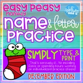 Interactive and Editable Name Practice - Easy Peasy December- Prek, Kindergarten