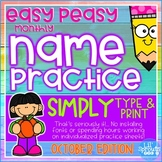 Interactive and Editable Name Practice - Easy Peasy October - Prek, Kindergarten