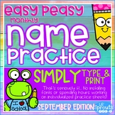 Interactive and Editable Name Practice - Easy Peasy September, PreK Kindergarten