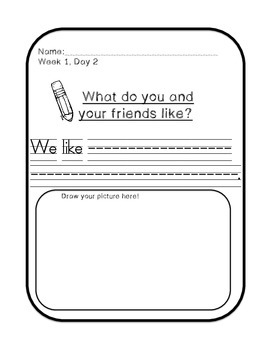 Interactive and Shared Writing Prompts-START SMART TREASURES 1st Grade