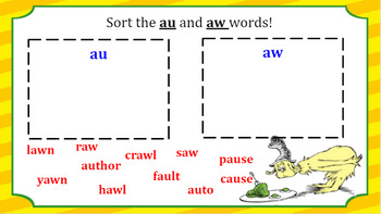 Interactive au and aw Word Work