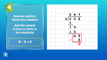 Interactive eLearning Mathematics Division Lesson with Questions