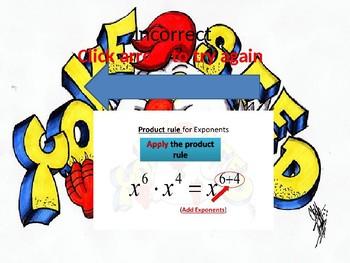 Interactive exponent Powerpoint slide show