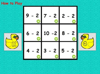 Interactive flipchart Tic Tac Toe Subtraction Minus 0 to Minus 20 Math Centers