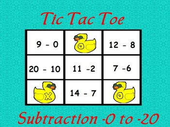 Interactive flipchart Tic Tac Toe Subtraction Minus 0 to M