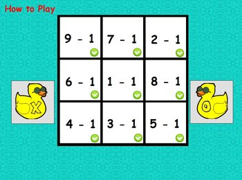 Interactive flipchart Tic Tac Toe Subtraction Minus 0 to Minus 5 Math Centers