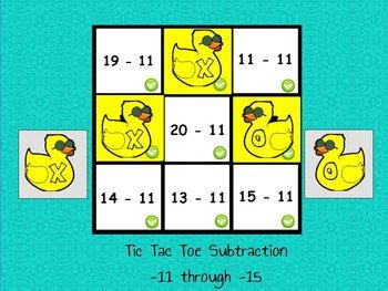 Interactive flipchart Tic Tac Toe Subtraction Minus 11 to