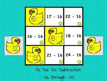 Interactive flipchart Tic Tac Toe Subtraction Minus 16 to Minus 20 Math Centers