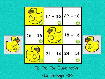 Interactive flipchart Tic Tac Toe Subtraction Minus 16 to