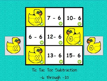 Interactive flipchart Tic Tac Toe Subtraction Minus 6 to Minus 10 Math Centers