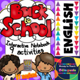 Back to School - 9 INTERACTIVE NOTEBOOK ACTIVITIES in ENGLISH