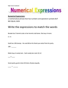 Interactive notebook Numerical Expressions