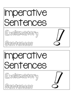 Interactive notebook kinds of sentences Imperative and Exclamatory