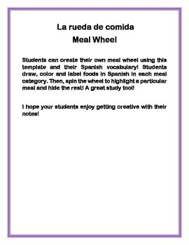 Interactive notebook meal wheel