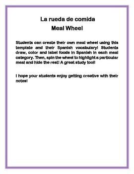 Interactive notebook meal wheel
