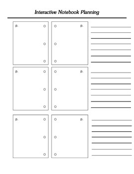 Interactive notebook planning page
