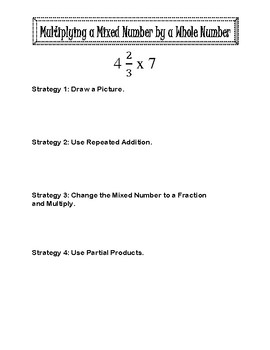 Interactive notebook sheet for Multiplying Mixed Numbers by Whole Number