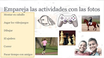 Spanish 1 presentation and practice for -AR verbs, ir, jugar, weather, clothing