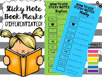 Interactive reading book marks to use with sticky notes (all ages!)