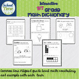 Interactive 1st  Grade Math Dictionary for the Whole Year