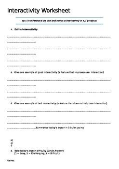 Interactivity Worksheet