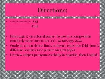 Interative Student Notebook - Subject Pronouns Doblado (folded chart)