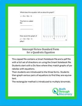 Algebra 2:  Intercept-Vertex-Standard Form for a Quadratic Equation