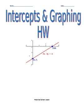 Intercepts & Graphing Homework
