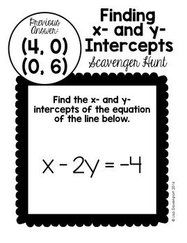 Intercepts (Scavenger Hunt)