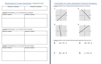 Intercepts of Linear Equations