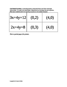 Intercepts to Linear Equations in Standard Form - Card Match Activity