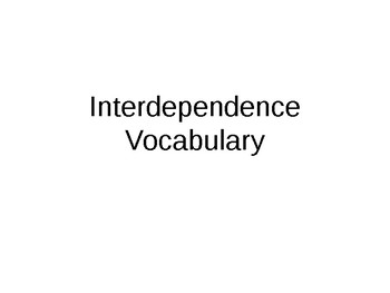 Interdependence Science Vocabulary