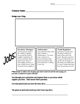 Interdependence Trading Game and Worksheet