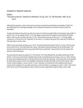 Interdisciplinary Document Based Question (DBQ) for Middle School - Liberators