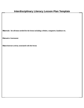 Interdisciplinary Literacy Lesson Plan Template